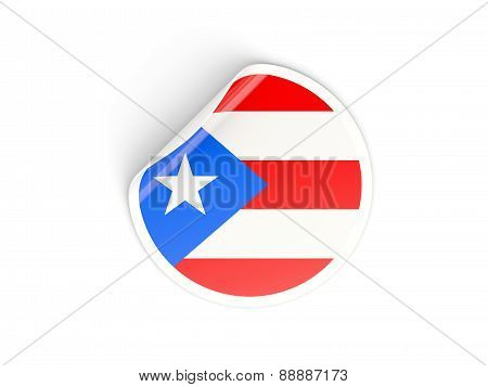 Round Sticker With Flag Of Puerto Rico