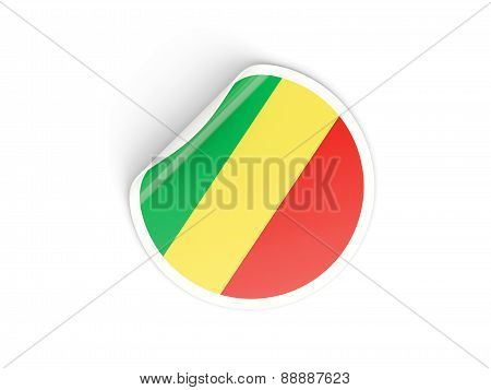 Round Sticker With Flag Of Republic Of The Congo