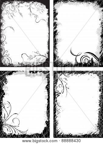 Set of four frames in grunge style.Vector illustration for your design.