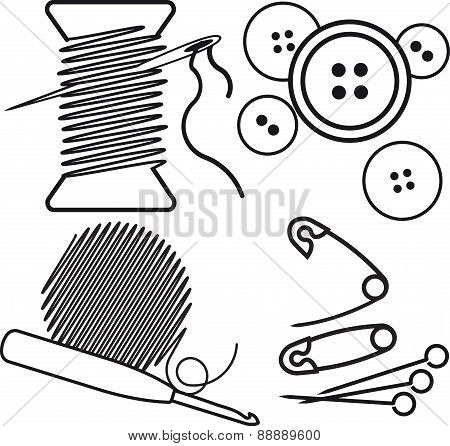 Sewing Accessories and crafts equipment - a needle with thread, buttons, pins, hook and a ball of th