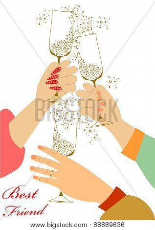 Holiday toast with champagne glasses