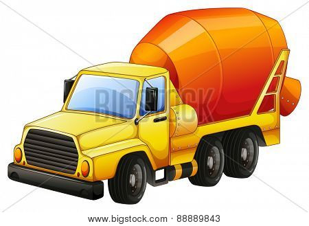 Close up yellow cement truck
