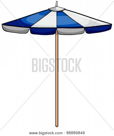 Close up blue and white umbrella