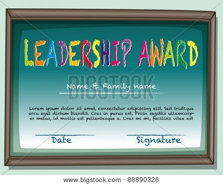 Certificate of leadership award in frame