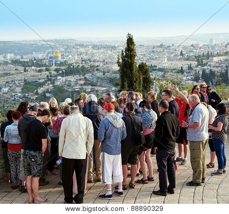 Pilgrims Are Looking At The Beautiful View Of Jerusalem And Pra