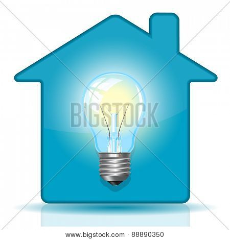 Lamp in house. Vector icon.