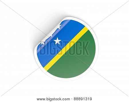 Round Sticker With Flag Of Solomon Islands