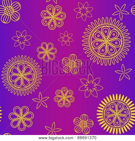 Seamless pattern with yellow flowers on violet background