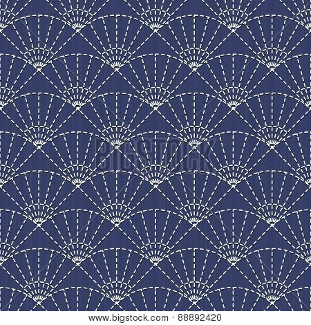Traditional Japanese Embroidery Ornament With Fans. Seamless Pattern.