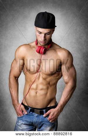 Athlete With Cap And Headphones