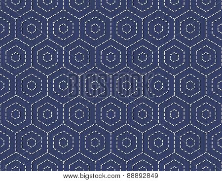 Traditional Japanese Embroidery Ornament With Hexagons. Seamless Pattern.