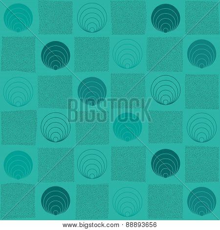 Checked Hand Drawn Illustration With Abstract Elements. Seamless Pattern.