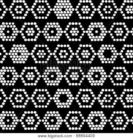 Traditional Ethnic African Ornament. Seamless Pattern. Monochrome Beads Imitation.