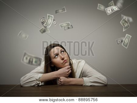 Girl In White And Dollars.