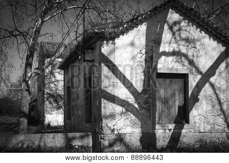 monochrome of a country house in an abandoned village
