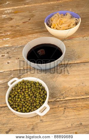 Soy Beans, Sprouts And Sauce