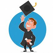 stock photo of graduation  - graduate celebrates - JPG
