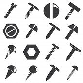 picture of bolt  - set of 16 bolt and pin icons on white background - JPG