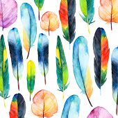 stock photo of feathers  - Watercolor feathers set - JPG