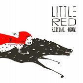 stock photo of little red riding hood  - Red Riding Hood on the back of a wolf riding fast - JPG