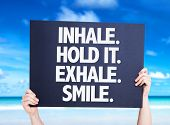 picture of exhale  - Inhale Hold It Exhale Smile card with beach background - JPG