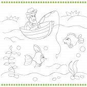 picture of fishermen  - Coloring book for kids with fisherman vector illustration - JPG