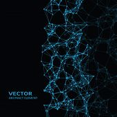 image of cybernetics  - Vector element of blue abstract cybernetic particles on black background - JPG