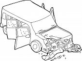 stock photo of wrecking  - Cartoon of dying man and wrecked SUV car - JPG