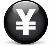 foto of yen  - Illustration of yen modern design black sphere icon - JPG