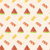 stock photo of popsicle  - Ice cream and popsicle seamless pattern on plain background - JPG