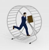 picture of hamster  - Illustration of a businessman running inside a hamster wheel - JPG