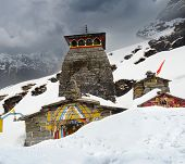 picture of mahabharata  - Tungnath is the temple of Lord Shiva is located on a mountain ridge Tungnath in the state of Uttarakhand India - JPG
