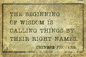 image of proverb  - The beginning of wisdom is to call things by their right names  - JPG