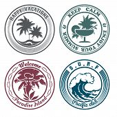 foto of hula dancer  - Set of summer holidays stamps or seal with design elements - JPG
