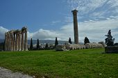 stock photo of olympian  - A view toward the ruins of the Olympian Zeus temple in Athens - JPG