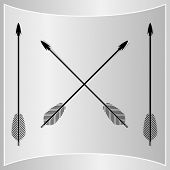 stock photo of bow arrow  - Bow Arrows Silhouette - JPG