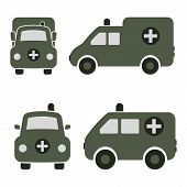 picture of ambulance car  - Cartoon Car Icons Silhouetted - JPG