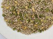 image of mixture  - Seed mixture of Pumpkin sunflower and sesame seeds - JPG