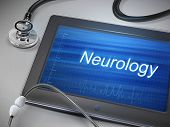 stock photo of neurology  - neurology word displayed on tablet with stethoscope over table - JPG