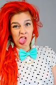 pic of bow tie hair  - Studio shot of young beauty young womanl with bow tie - JPG