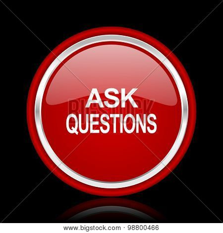 ask questions red glossy web icon chrome design on black background with reflection