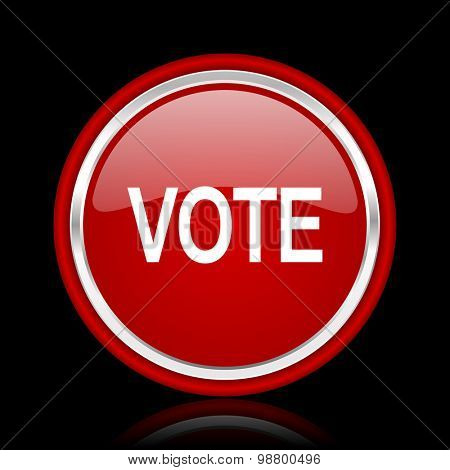 vote red glossy web icon chrome design on black background with reflection