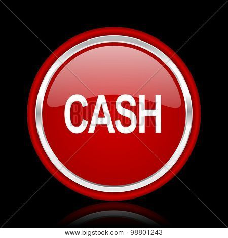 cash red glossy web icon  chrome design on black background with reflection