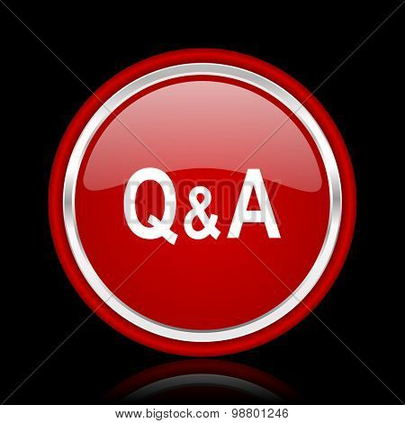question answer red glossy web icon chrome design on black background with reflection