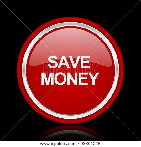 save money red glossy web icon chrome design on black background with reflection