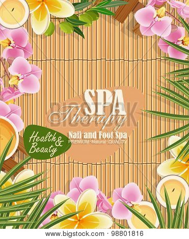 Vector spa background with tropical flowers
