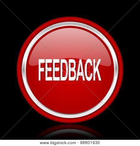 feedback red glossy web icon chrome design on black background with reflection