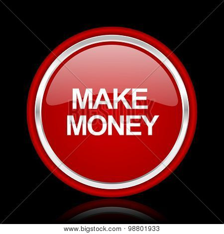 make money red glossy web icon chrome design on black background with reflection