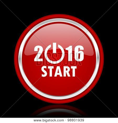 year 2016 red glossy web icon chrome design on black background with reflection
