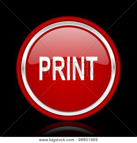 print red glossy web icon chrome design on black background with reflection